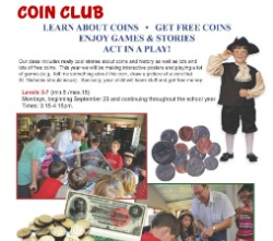 Coin Club pictures of class and coins with historical bills