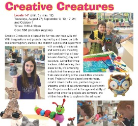 Creative Creatures arts and crafts by kids