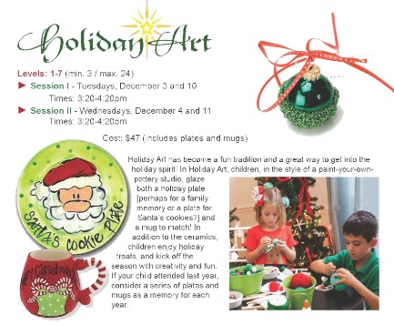 Holiday Art classes for elementary school kids