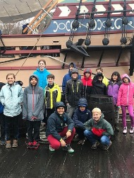 students visiting ship at Williamburg