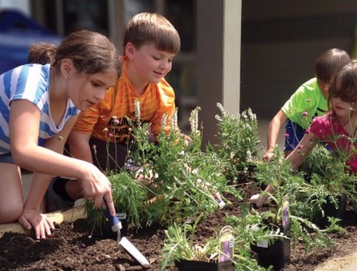 older students digging in the garden and planting flowers