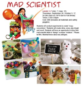 Mad Scientist after school children's classes