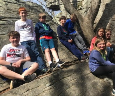 Natures Classroom kids on rock trail