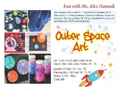 Outer Space arts and crafts classes for kids